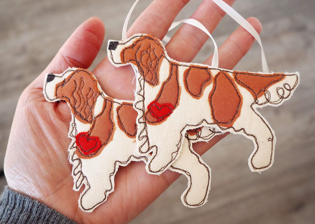 Double red and white Irish Setter Dog Fabric Hanging Decoration