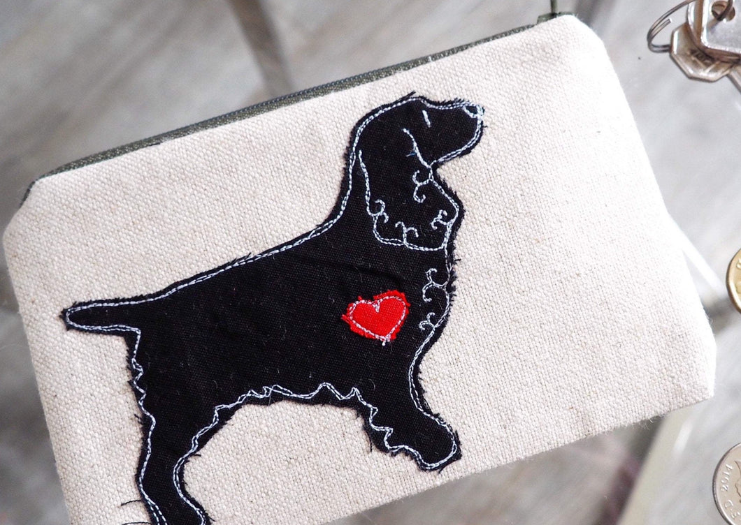 English Field Spaniel - Dog Embroidery - Small Useful Coin Purse