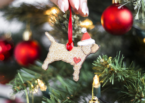 Wooden Christmas Decoration - Cockapoo - Wooden Dog Christmas Decoration