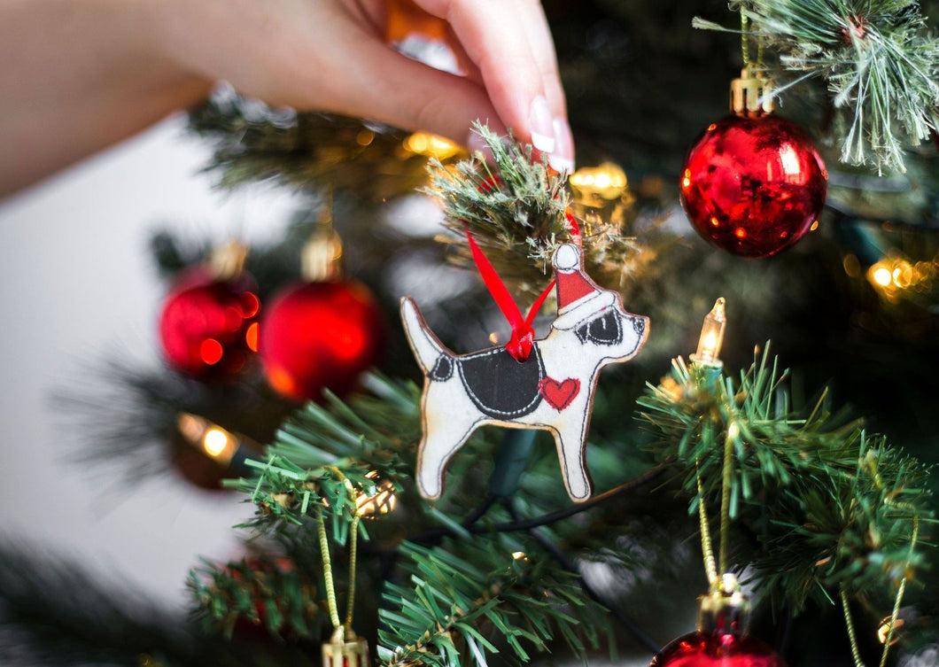 Wooden Christmas Decoration - Jack Russell Terrier - Wooden Dog Christmas Decoration