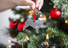Load image into Gallery viewer, Wooden Christmas Decoration - Pug- Wooden Dog Christmas Decoration