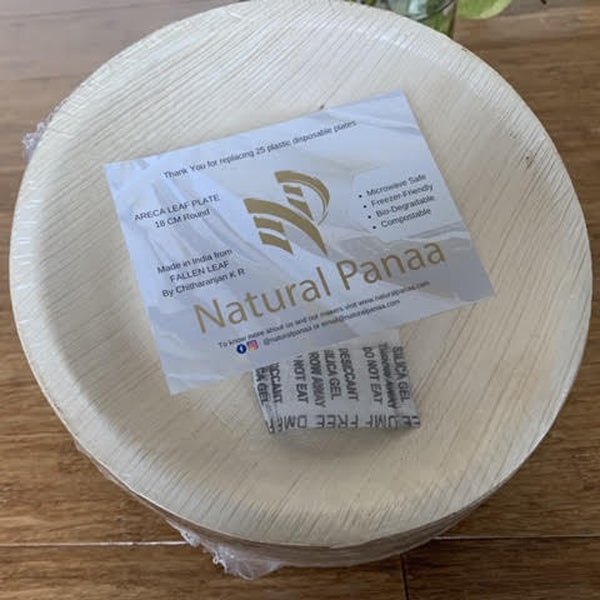 Natural Panaa Areca Leaf 18cm Round Plate - 25 Pack