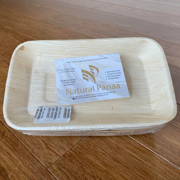 Natural Panaa Areca Leaf 25x15cm Rectangle Deep Tray - 25 Pack