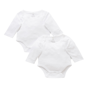 Load image into Gallery viewer, Purebaby Organic Easy Neck Long Sleeve Bodysuit Pack of 2 – White