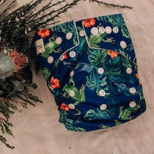 My Little Gumnut Modern Cloth Nappy Bamboo – Frogs