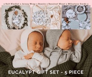 Snuggle Hunny Eucalypt Gift Set – Swaddle, Beanie, Blanket, Bassinet Sheet, Milestone Cards
