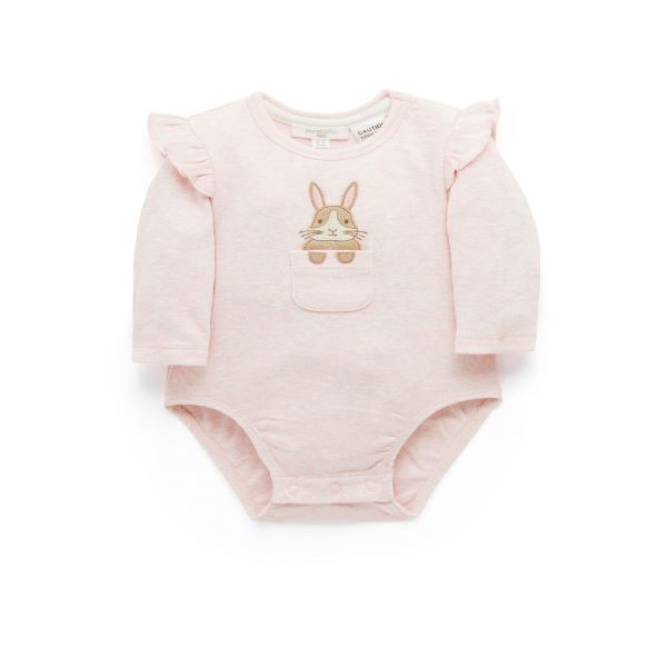 Load image into Gallery viewer, Purebaby Organic Long Sleeve Ruffle Bodysuit – Pink Bunny