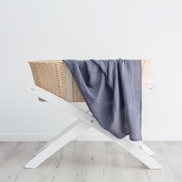 Love & Lee Organic Cotton Muslin Swaddle Wraps – Stormy Blue