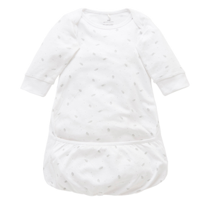 Purebaby Organic Sleepsuit – Pale Grey Leaf with Spot