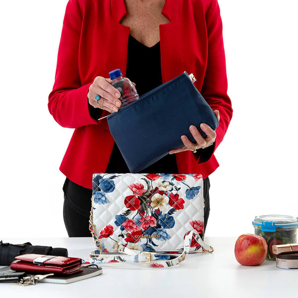 Load image into Gallery viewer, Dee Cool Clutch (Red & Blue Flowers) Cool Cross body Clutch