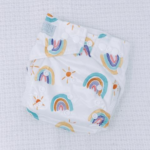 Load image into Gallery viewer, My Little Gumnut Modern Cloth Nappy Bamboo – Pastel Rainbows