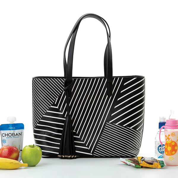 Load image into Gallery viewer, Michelle Cool Clutch (Black & White Stripe) Cool Shoulder Handbag