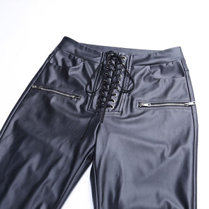 Stylish Lederlook Hosen, elastischer Bund