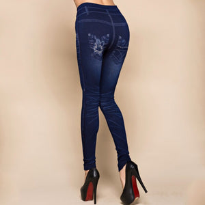 Sexy Freizeit Denim Leggings, Jeans-Look