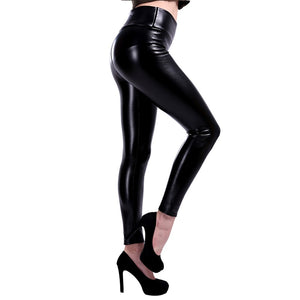 Elastische Lederlook Leggings, bis 3XL