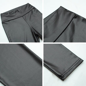 Elastische high waist Lederlook Leggings, matter look