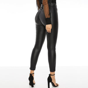 High waist Lederlook Leggings mit Gurt