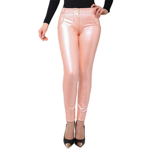 Organische Baumwoll Leder Look Pants, pink metallic, auch in Plus Sizes