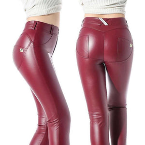 Leder Look Pants, burgund-rot, aus Baumwolle, auch in Plus Sizes