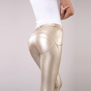 Organische Baumwoll Leder Look Pants, gold metallic, auch in Plus Sizes