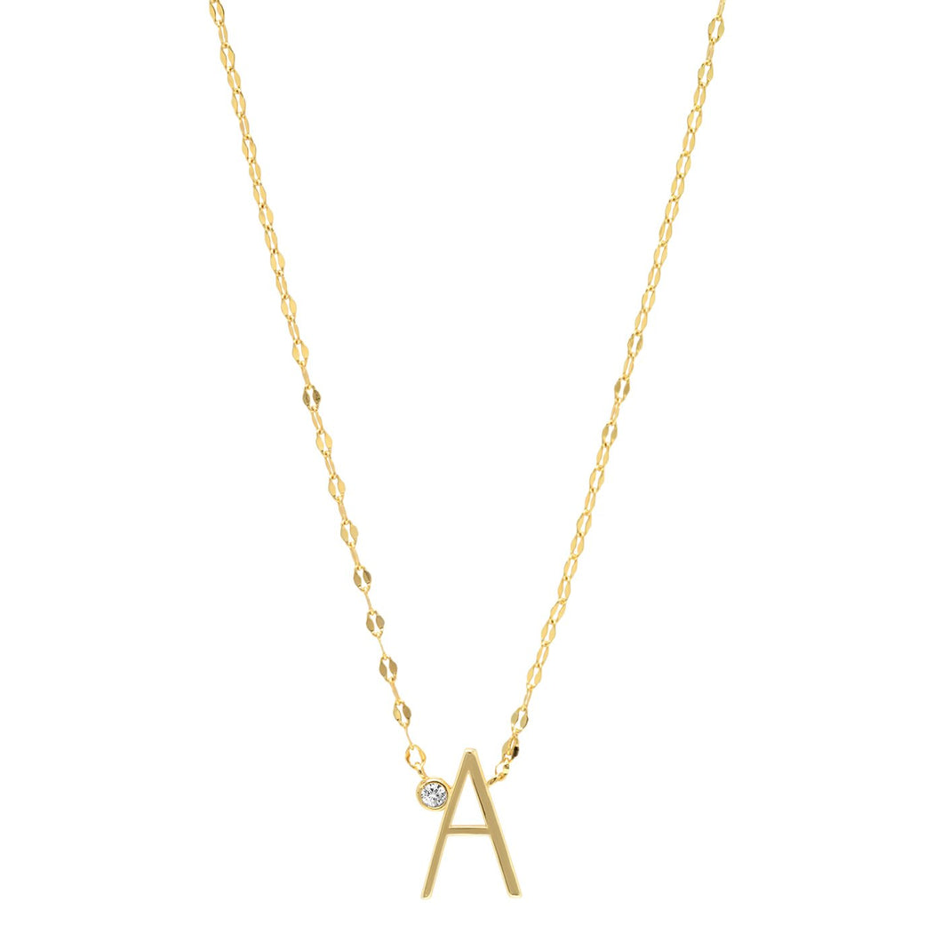 Simple Gold Chain Initial Necklace
