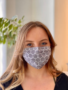 Black & White - 3 Layers Reusable Cotton Cloth Face Mask
