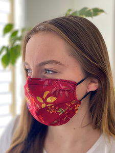 Red Delight- 3 Layers Reusable Cotton Cloth Face Mask