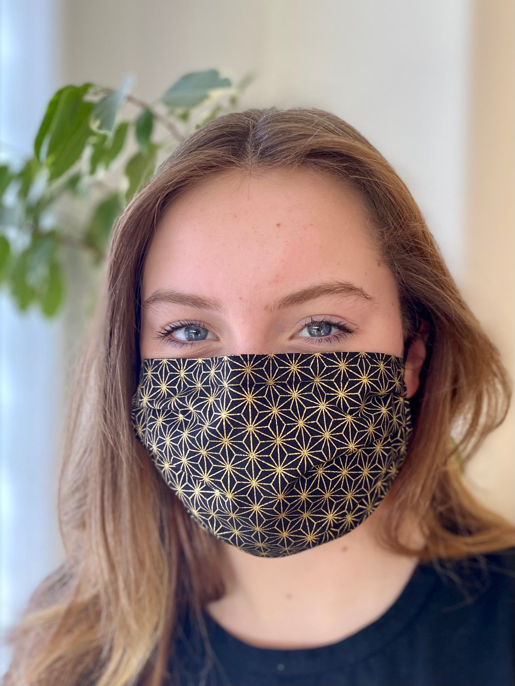 Gold Geometric- 3 Layers Reusable Cotton Cloth Face Mask