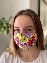 Load image into Gallery viewer, Cornflowers - 3 Layers Reusable Cotton Cloth Face Mask
