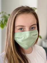 Load image into Gallery viewer, Light Green - 3 Layers Reusable Cotton Cloth Face Mask