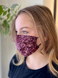 Violet Triangles- 3 Layers Reusable Cotton Cloth Face Mask
