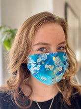 Load image into Gallery viewer, Blue Roses- 3 Layers Reusable Cotton Cloth Face Mask