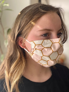 Pink & Gold - 3 Layers Reusable Cotton Cloth Face Mask