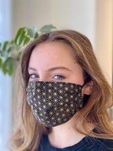 Load image into Gallery viewer, Gold Geometric- 3 Layers Reusable Cotton Cloth Face Mask