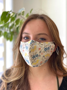 SHAPED - Tansies - Reusable Cotton Cloth Face Mask - 2 layers with pocket for filter