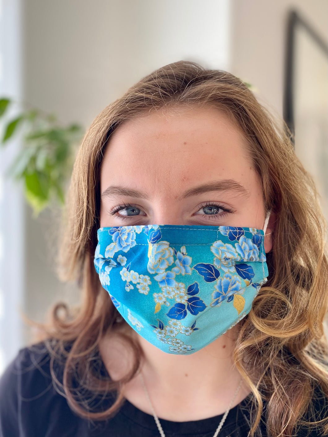 Blue Roses- 3 Layers Reusable Cotton Cloth Face Mask