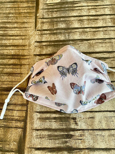 Large - Pink Butterfly - 3 Layers Reusable Cotton Cloth Face Mask