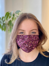 Load image into Gallery viewer, Violet Triangles- 3 Layers Reusable Cotton Cloth Face Mask