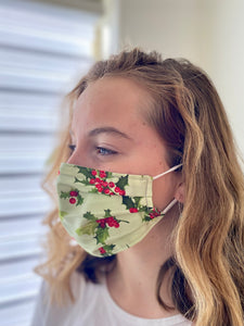 Christmas Holly - 2 Layers Reusable Cotton Cloth Face Mask