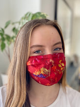 Load image into Gallery viewer, Red Delight- 3 Layers Reusable Cotton Cloth Face Mask