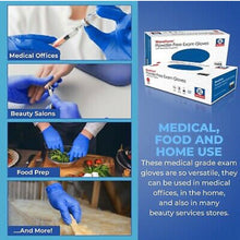 Load image into Gallery viewer, Nitrile Powder-Free Gloves (Blue) - Small-Large - 100 ct $5.99 (3 Boxes 300 Gloves)