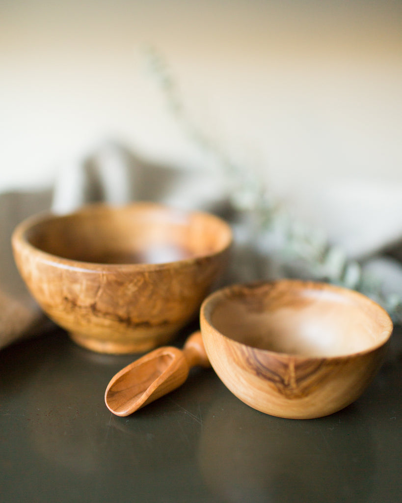 Olive Wood Salt Bowl in Natural
