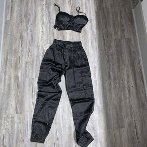 BLACK SATIN SET