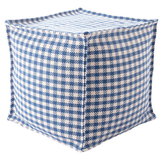 Houndstooth Denim Indoor/Outdoor Pouf