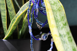 """Evil Eye"" Double Wrap Waist Beads - Moon Water and Honey"