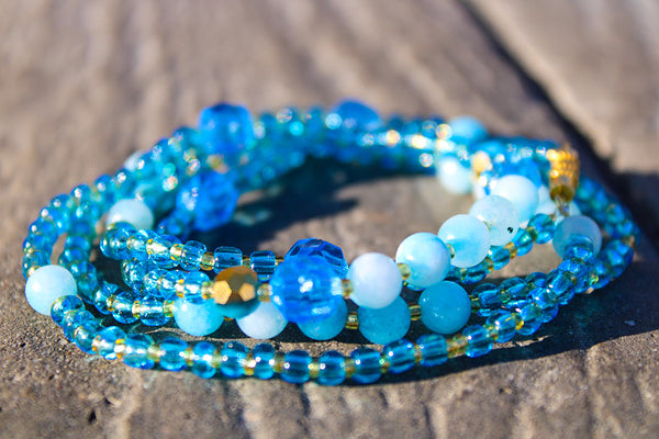 "Throat Chakra ""Blue"" Healing Waist Beads - Moon Water and Honey"