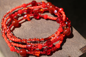 "Root Chakra ""Red"" Healing Waist Beads - Moon Water and Honey"