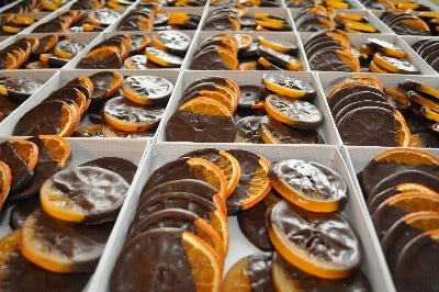 Dried & Candied Oranges Dipped in Dark Chocolate