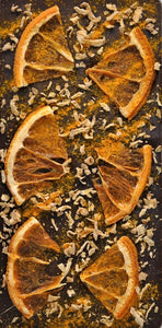 Oranges, Dried Ginger and Turmeric Dark Chocolate Bar