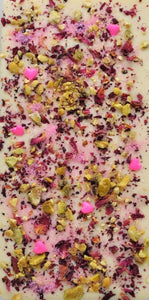 Organic Dried Edible Rose Petals California Pistachio with White Chocolate